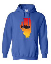 Load image into Gallery viewer, Pullover Hooded Sweatshirt Illinois Royal Large Mouth Bass Vibrant Design High Quality Tight Knit Ring Spun Low Maintenance Cotton Printed With The Newest Available Color Transfer Technology