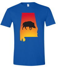 Load image into Gallery viewer, Short Sleeve T-Shirt Alabama Royal Wild Hog Vibrant Design High Quality Tight Knit Ring Spun Low Maintenance Cotton Printed With The Newest Available Color Transfer Technology