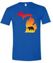 Load image into Gallery viewer, Short Sleeve T-Shirt Michigan Royal Black Bear Vibrant Design High Quality Tight Knit Ring Spun Low Maintenance Cotton Printed With The Newest Available Color Transfer Technology