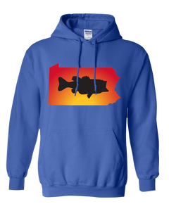 Pullover Hooded Sweatshirt Pennsylvania Royal Large Mouth Bass Vibrant Design High Quality Tight Knit Ring Spun Low Maintenance Cotton Printed With The Newest Available Color Transfer Technology