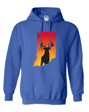 Load image into Gallery viewer, Pullover Hooded Sweatshirt Indiana Royal Whitetail Deer Vibrant Design High Quality Tight Knit Ring Spun Low Maintenance Cotton Printed With The Newest Available Color Transfer Technology