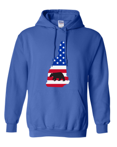 Pullover Hooded Sweatshirt New Hampshire Royal Black Bear Vibrant Design High Quality Tight Knit Ring Spun Low Maintenance Cotton Printed With The Newest Available Color Transfer Technology