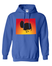 Load image into Gallery viewer, Pullover Hooded Sweatshirt Wyoming Royal Turkey Vibrant Design High Quality Tight Knit Ring Spun Low Maintenance Cotton Printed With The Newest Available Color Transfer Technology