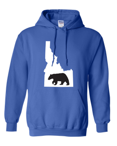 Pullover Hooded Sweatshirt Idaho Royal Black Bear Vibrant Design High Quality Tight Knit Ring Spun Low Maintenance Cotton Printed With The Newest Available Color Transfer Technology