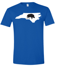 Load image into Gallery viewer, Short Sleeve T-Shirt North Carolina Royal Wild Hog Vibrant Design High Quality Tight Knit Ring Spun Low Maintenance Cotton Printed With The Newest Available Color Transfer Technology