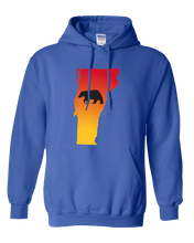 Load image into Gallery viewer, Pullover Hooded Sweatshirt Vermont Royal Black Bear Vibrant Design High Quality Tight Knit Ring Spun Low Maintenance Cotton Printed With The Newest Available Color Transfer Technology