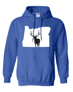 Pullover Hooded Sweatshirt Oregon Royal Elk Vibrant Design High Quality Tight Knit Ring Spun Low Maintenance Cotton Printed With The Newest Available Color Transfer Technology