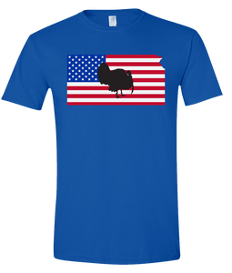 Short Sleeve T-Shirt Kansas Royal Turkey Vibrant Design High Quality Tight Knit Ring Spun Low Maintenance Cotton Printed With The Newest Available Color Transfer Technology