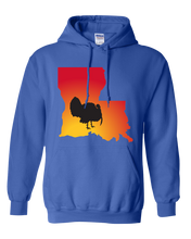Load image into Gallery viewer, Pullover Hooded Sweatshirt Louisiana Royal Turkey Vibrant Design High Quality Tight Knit Ring Spun Low Maintenance Cotton Printed With The Newest Available Color Transfer Technology