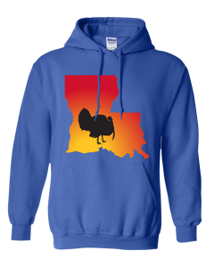 Pullover Hooded Sweatshirt Louisiana Royal Turkey Vibrant Design High Quality Tight Knit Ring Spun Low Maintenance Cotton Printed With The Newest Available Color Transfer Technology