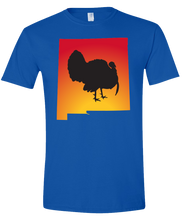 Load image into Gallery viewer, Short Sleeve T-Shirt New Mexico Royal Turkey Vibrant Design High Quality Tight Knit Ring Spun Low Maintenance Cotton Printed With The Newest Available Color Transfer Technology