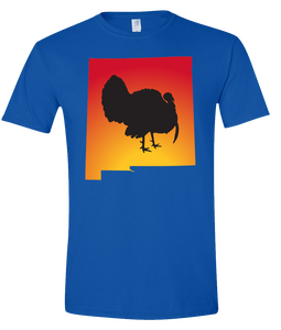 Short Sleeve T-Shirt New Mexico Royal Turkey Vibrant Design High Quality Tight Knit Ring Spun Low Maintenance Cotton Printed With The Newest Available Color Transfer Technology
