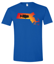Load image into Gallery viewer, Short Sleeve T-Shirt Massachusetts Royal Large Mouth Bass Vibrant Design High Quality Tight Knit Ring Spun Low Maintenance Cotton Printed With The Newest Available Color Transfer Technology