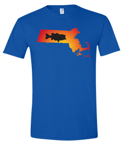 Short Sleeve T-Shirt Massachusetts Royal Large Mouth Bass Vibrant Design High Quality Tight Knit Ring Spun Low Maintenance Cotton Printed With The Newest Available Color Transfer Technology