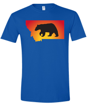 Load image into Gallery viewer, Short Sleeve T-Shirt Montana Royal Black Bear Vibrant Design High Quality Tight Knit Ring Spun Low Maintenance Cotton Printed With The Newest Available Color Transfer Technology