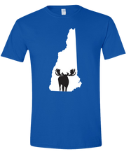 Load image into Gallery viewer, Short Sleeve T-Shirt New Hampshire Royal Moose Vibrant Design High Quality Tight Knit Ring Spun Low Maintenance Cotton Printed With The Newest Available Color Transfer Technology