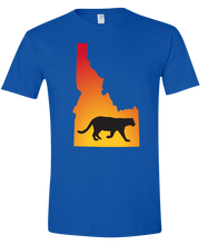 Load image into Gallery viewer, Short Sleeve T-Shirt Idaho Royal Mountain Lion Vibrant Design High Quality Tight Knit Ring Spun Low Maintenance Cotton Printed With The Newest Available Color Transfer Technology