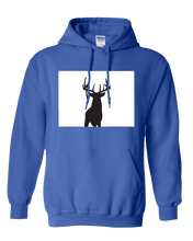 Load image into Gallery viewer, Pullover Hooded Sweatshirt Colorado Royal Whitetail Deer Vibrant Design High Quality Tight Knit Ring Spun Low Maintenance Cotton Printed With The Newest Available Color Transfer Technology