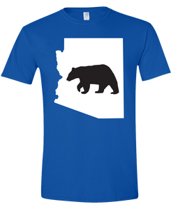 Short Sleeve T-Shirt Arizona Royal Black Bear Vibrant Design High Quality Tight Knit Ring Spun Low Maintenance Cotton Printed With The Newest Available Color Transfer Technology