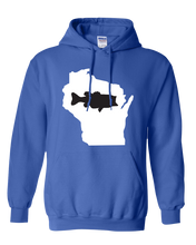 Load image into Gallery viewer, Pullover Hooded Sweatshirt Wisconsin Royal Large Mouth Bass Vibrant Design High Quality Tight Knit Ring Spun Low Maintenance Cotton Printed With The Newest Available Color Transfer Technology