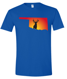 Short Sleeve T-Shirt Oklahoma Royal Whitetail Deer Vibrant Design High Quality Tight Knit Ring Spun Low Maintenance Cotton Printed With The Newest Available Color Transfer Technology