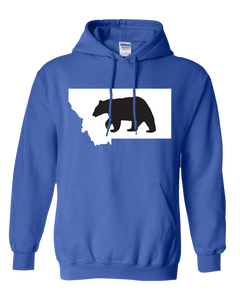 Pullover Hooded Sweatshirt Montana Royal Black Bear Vibrant Design High Quality Tight Knit Ring Spun Low Maintenance Cotton Printed With The Newest Available Color Transfer Technology