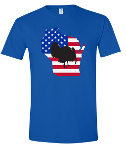 Short Sleeve T-Shirt Wisconsin Royal Turkey Vibrant Design High Quality Tight Knit Ring Spun Low Maintenance Cotton Printed With The Newest Available Color Transfer Technology