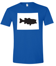 Load image into Gallery viewer, Short Sleeve T-Shirt Wyoming Royal Large Mouth Bass Vibrant Design High Quality Tight Knit Ring Spun Low Maintenance Cotton Printed With The Newest Available Color Transfer Technology