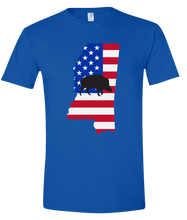 Load image into Gallery viewer, Short Sleeve T-Shirt Mississippi Royal Wild Hog Vibrant Design High Quality Tight Knit Ring Spun Low Maintenance Cotton Printed With The Newest Available Color Transfer Technology