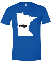Load image into Gallery viewer, Short Sleeve T-Shirt Minnesota Royal Large Mouth Bass Vibrant Design High Quality Tight Knit Ring Spun Low Maintenance Cotton Printed With The Newest Available Color Transfer Technology