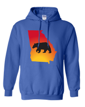 Load image into Gallery viewer, Pullover Hooded Sweatshirt Georgia Royal Black Bear Vibrant Design High Quality Tight Knit Ring Spun Low Maintenance Cotton Printed With The Newest Available Color Transfer Technology