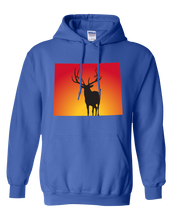 Load image into Gallery viewer, Pullover Hooded Sweatshirt Wyoming Royal Elk Vibrant Design High Quality Tight Knit Ring Spun Low Maintenance Cotton Printed With The Newest Available Color Transfer Technology