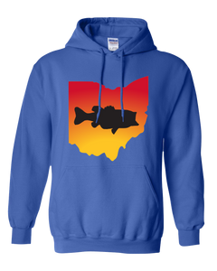 Pullover Hooded Sweatshirt Ohio Royal Large Mouth Bass Vibrant Design High Quality Tight Knit Ring Spun Low Maintenance Cotton Printed With The Newest Available Color Transfer Technology