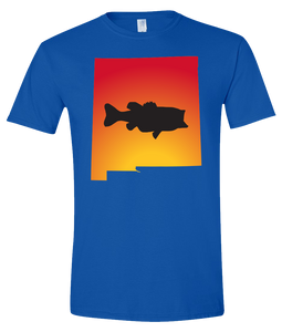Short Sleeve T-Shirt New Mexico Royal Large Mouth Bass Vibrant Design High Quality Tight Knit Ring Spun Low Maintenance Cotton Printed With The Newest Available Color Transfer Technology
