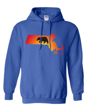 Load image into Gallery viewer, Pullover Hooded Sweatshirt Massachusetts Royal Black Bear Vibrant Design High Quality Tight Knit Ring Spun Low Maintenance Cotton Printed With The Newest Available Color Transfer Technology