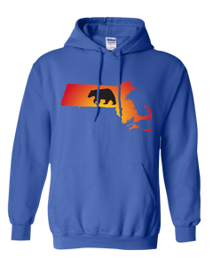 Pullover Hooded Sweatshirt Massachusetts Royal Black Bear Vibrant Design High Quality Tight Knit Ring Spun Low Maintenance Cotton Printed With The Newest Available Color Transfer Technology