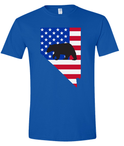Short Sleeve T-Shirt Nevada Royal Black Bear Vibrant Design High Quality Tight Knit Ring Spun Low Maintenance Cotton Printed With The Newest Available Color Transfer Technology