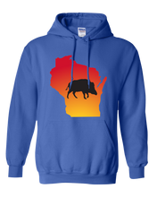 Load image into Gallery viewer, Pullover Hooded Sweatshirt Wisconsin Royal Wild Hog Vibrant Design High Quality Tight Knit Ring Spun Low Maintenance Cotton Printed With The Newest Available Color Transfer Technology