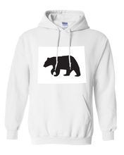 Load image into Gallery viewer, Pullover Hooded Sweatshirt Wyoming White Black Bear Vibrant Design High Quality Tight Knit Ring Spun Low Maintenance Cotton Printed With The Newest Available Color Transfer Technology