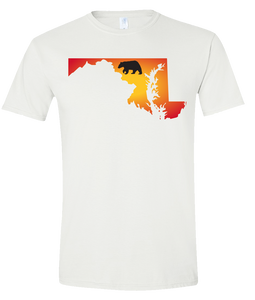 Short Sleeve T-Shirt Maryland White Black Bear Vibrant Design High Quality Tight Knit Ring Spun Low Maintenance Cotton Printed With The Newest Available Color Transfer Technology