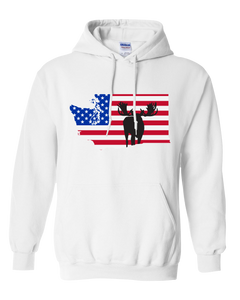Pullover Hooded Sweatshirt Washington White Moose Vibrant Design High Quality Tight Knit Ring Spun Low Maintenance Cotton Printed With The Newest Available Color Transfer Technology