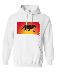 Pullover Hooded Sweatshirt South Dakota White Mountain Lion Vibrant Design High Quality Tight Knit Ring Spun Low Maintenance Cotton Printed With The Newest Available Color Transfer Technology
