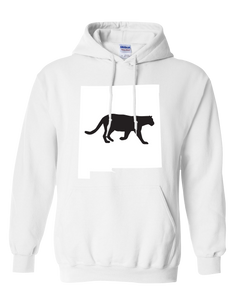 Pullover Hooded Sweatshirt New Mexico White Mountain Lion Vibrant Design High Quality Tight Knit Ring Spun Low Maintenance Cotton Printed With The Newest Available Color Transfer Technology