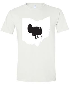 Short Sleeve T-Shirt Ohio White Turkey Vibrant Design High Quality Tight Knit Ring Spun Low Maintenance Cotton Printed With The Newest Available Color Transfer Technology