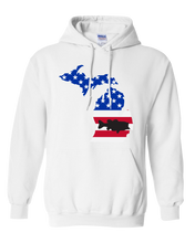 Load image into Gallery viewer, Pullover Hooded Sweatshirt Michigan White Large Mouth Bass Vibrant Design High Quality Tight Knit Ring Spun Low Maintenance Cotton Printed With The Newest Available Color Transfer Technology