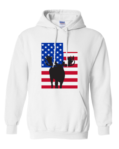 Pullover Hooded Sweatshirt Utah White Moose Vibrant Design High Quality Tight Knit Ring Spun Low Maintenance Cotton Printed With The Newest Available Color Transfer Technology