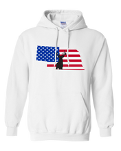 Load image into Gallery viewer, Pullover Hooded Sweatshirt Nebraska White Whitetail Deer Vibrant Design High Quality Tight Knit Ring Spun Low Maintenance Cotton Printed With The Newest Available Color Transfer Technology