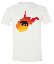 Load image into Gallery viewer, Short Sleeve T-Shirt West Virginia White Black Bear Vibrant Design High Quality Tight Knit Ring Spun Low Maintenance Cotton Printed With The Newest Available Color Transfer Technology