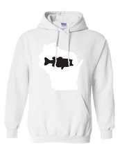 Load image into Gallery viewer, Pullover Hooded Sweatshirt Wisconsin White Large Mouth Bass Vibrant Design High Quality Tight Knit Ring Spun Low Maintenance Cotton Printed With The Newest Available Color Transfer Technology