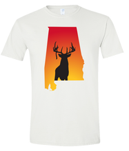 Load image into Gallery viewer, Short Sleeve T-Shirt Alabama White Whitetail Deer Vibrant Design High Quality Tight Knit Ring Spun Low Maintenance Cotton Printed With The Newest Available Color Transfer Technology
